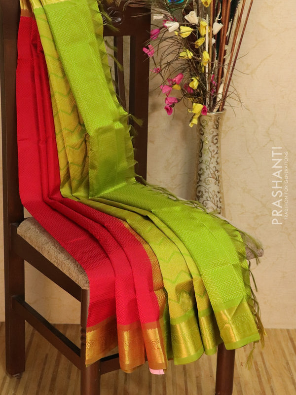 Silk Cotton saree kum kum red and green with self emboss jacquard weaving and rich zari border