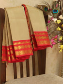 Silk Cotton saree beige and red with rich korvai zari border