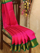 Silk Cotton saree magenta and green with rich korvai zari border