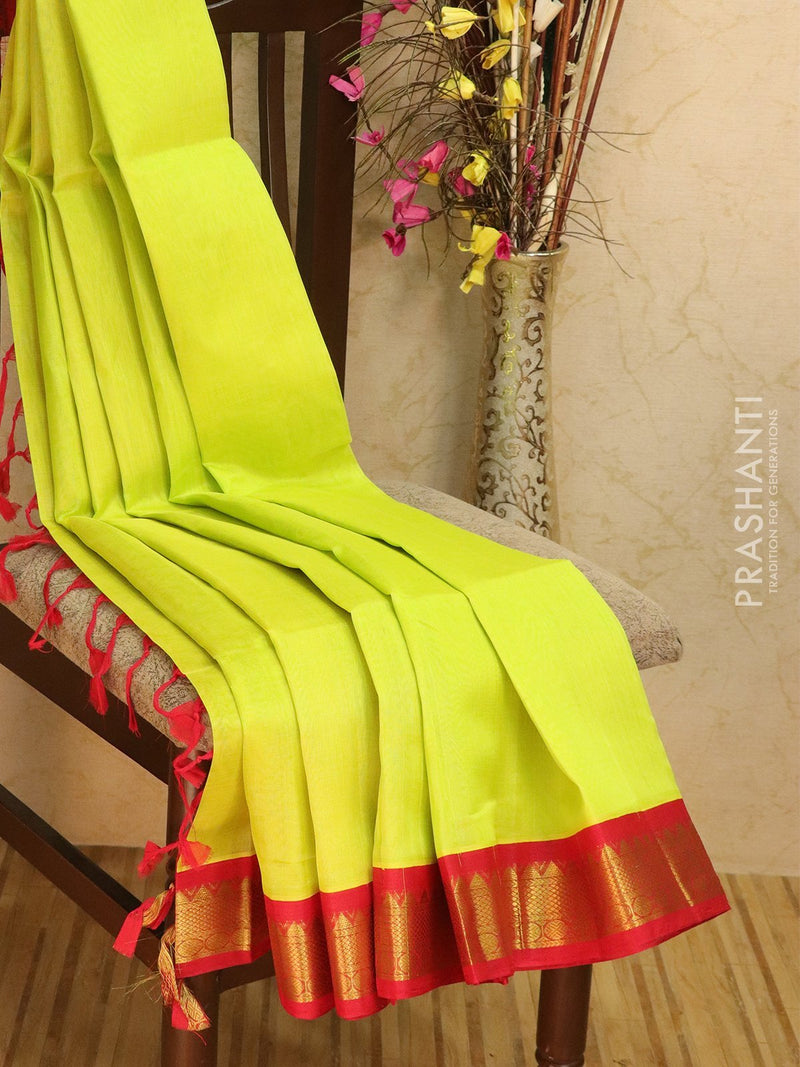 Silk Cotton saree lime yellow and red with rich korvai zari border