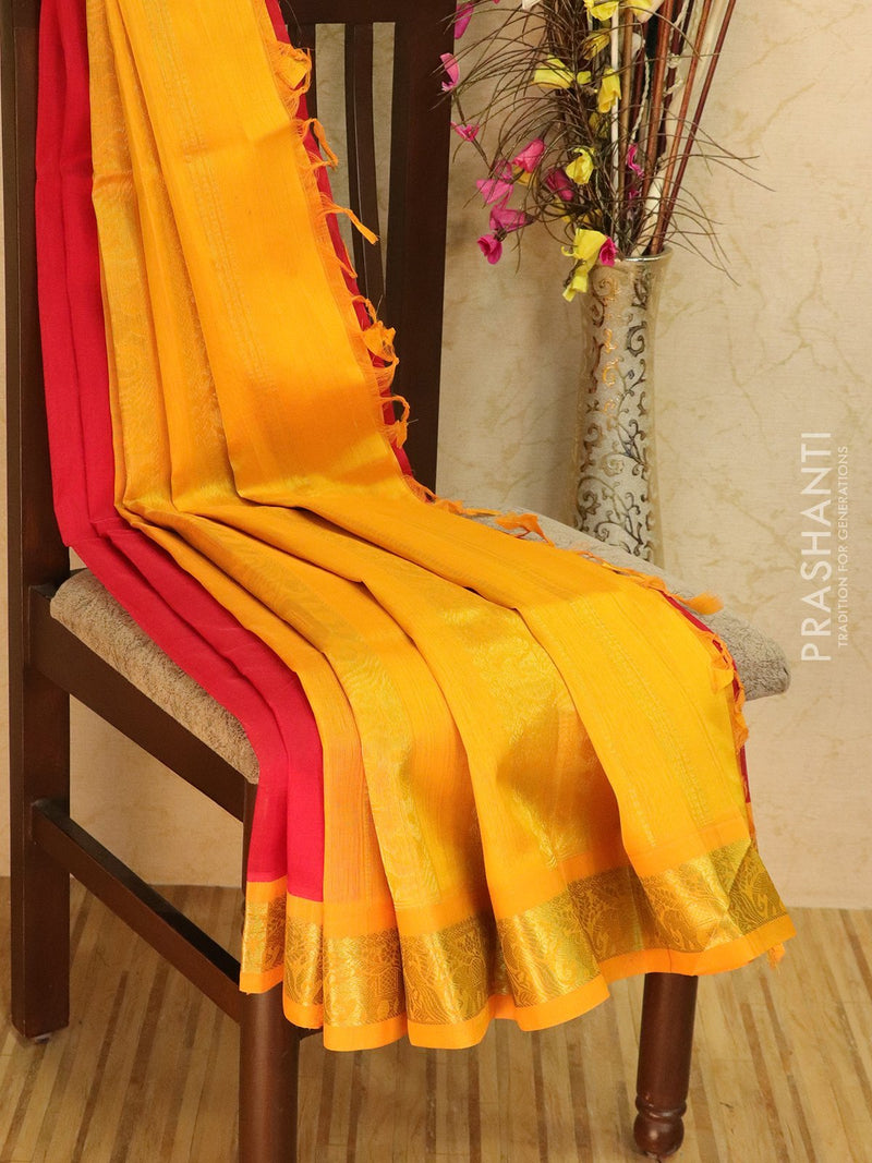 Silk Cotton saree red and mustard with rich korvai zari border