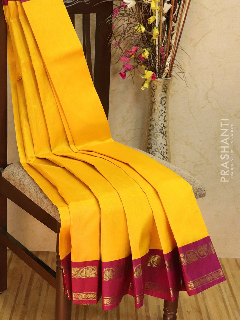 Silk Cotton saree yellow and purple with rich korvai zari border