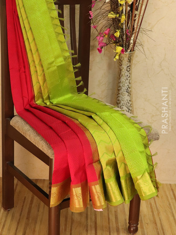 Silk Cotton jacquard saree red and green with rich zari woven border