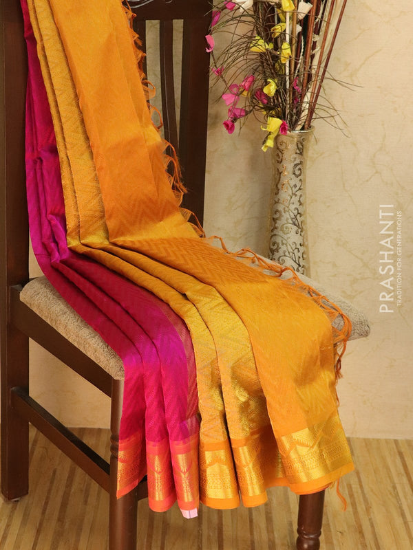 Silk Cotton jacquard saree pink and mustard yellow with rich zari woven border