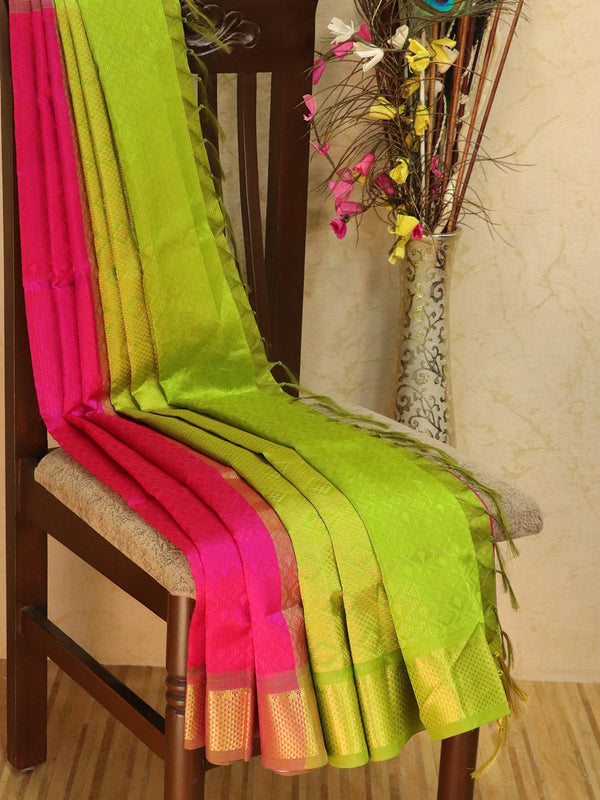 Silk Cotton jacquard saree pink and green with rich zari woven border