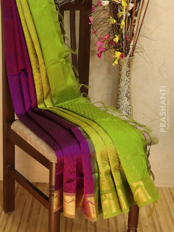 Silk Cotton jacquard saree purple and green with rich zari woven border