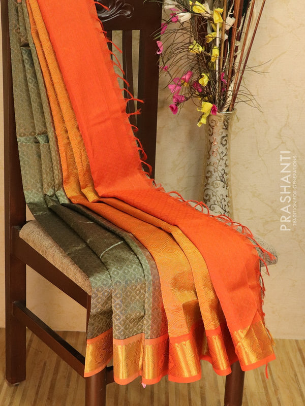 Silk Cotton jacquard saree grey and orange with rich zari woven border