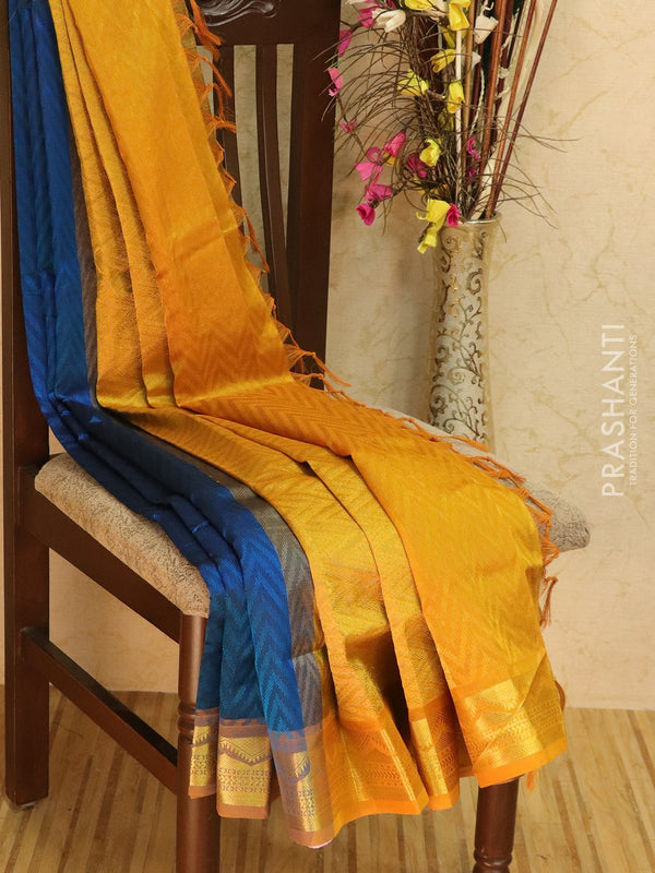 Silk Cotton jacquard saree peacock blue and mustard yellow with rich zari woven border