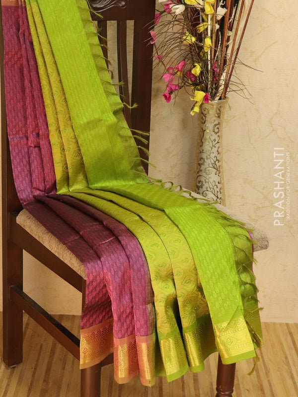 Silk Cotton jacquard saree pastel pink and green with rich zari woven border