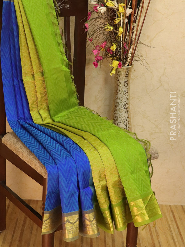 Silk Cotton jacquard saree blue and green with rich zari woven border
