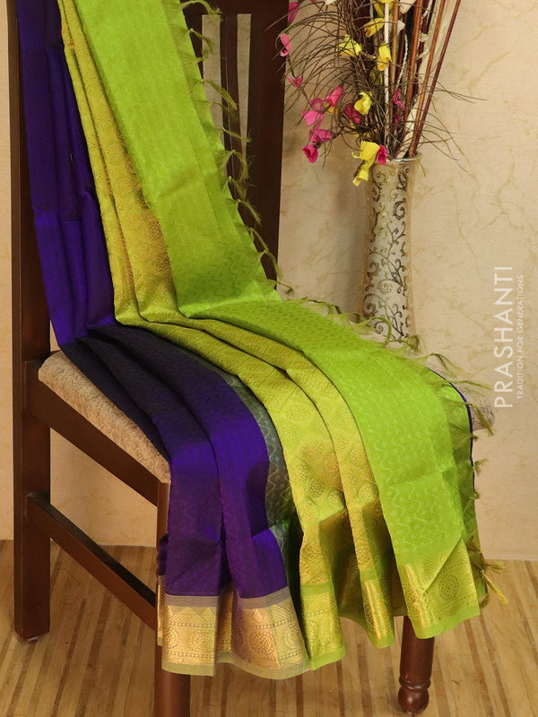 Silk Cotton jacquard saree violet and green with rich zari woven border