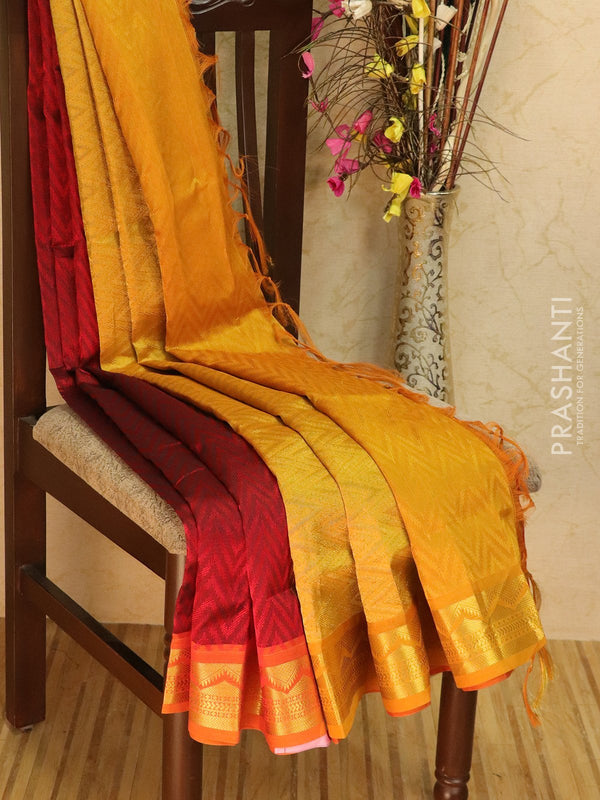 Silk Cotton jacquard saree red and mustard yellow with rich zari woven border
