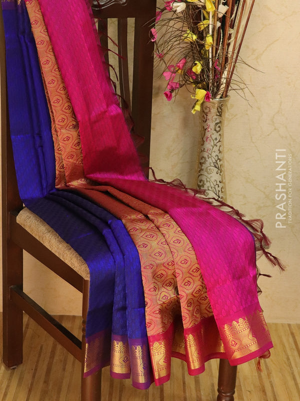 Silk Cotton jacquard saree blue and pink with rich zari woven border