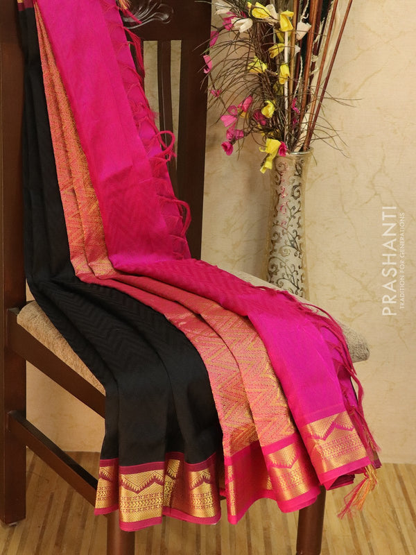Silk Cotton jacquard saree black and pink with rich zari woven border
