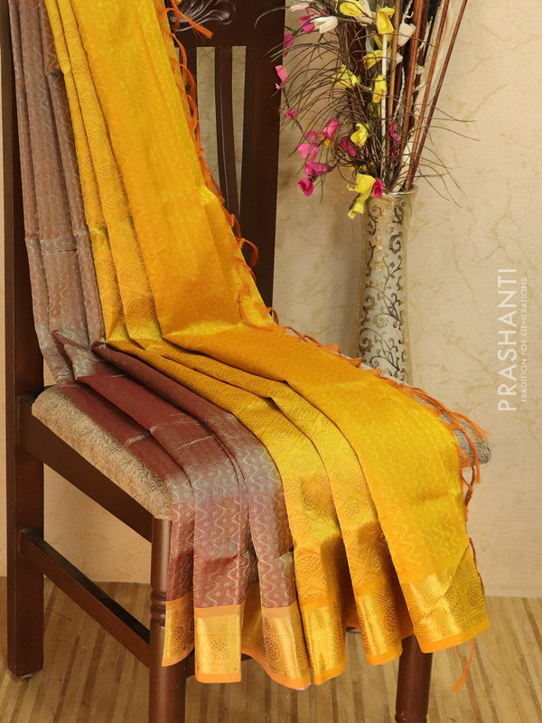 Silk Cotton jacquard saree sliver grey and yellow with rich zari woven border