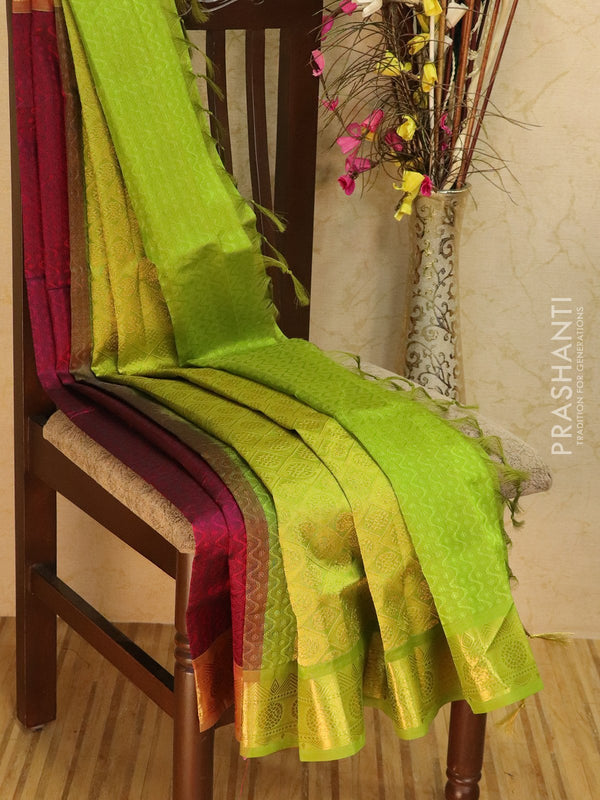 Silk Cotton jacquard saree magenta pink and green with rich zari woven border