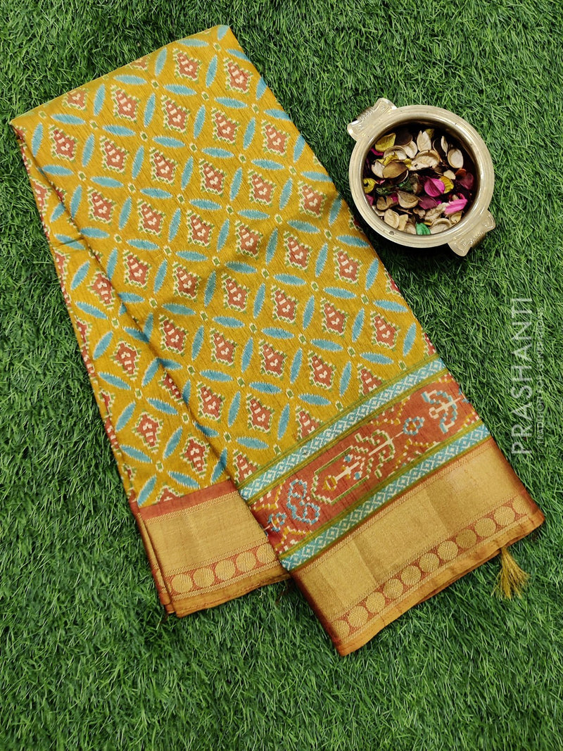 Semi tussar saree mustard and rust with all over ikkat prints and simple zari border