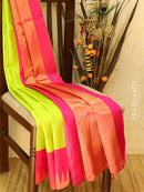 Pure kanjivaram silk saree green and pink with plain body and zari woven temple border