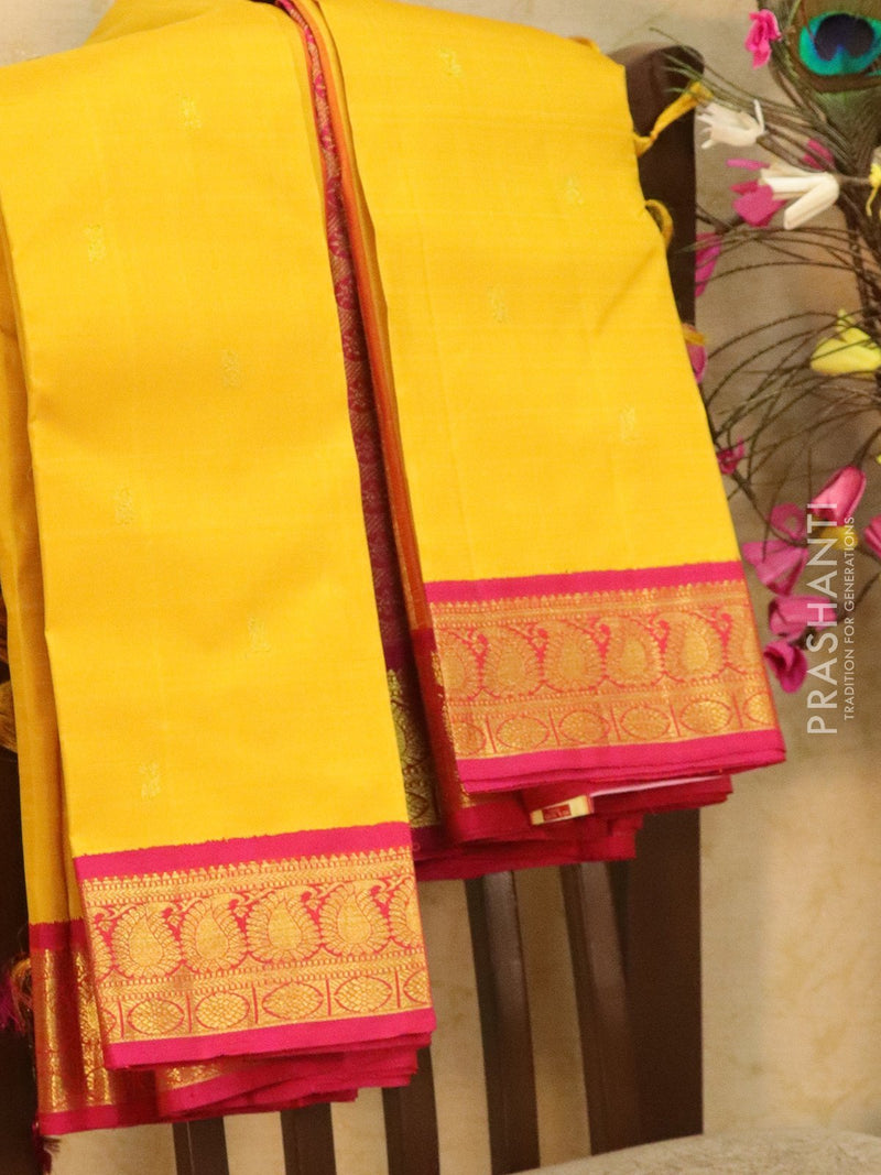 Pure kanjivaram silk saree yellow and pink with small zari buttas and rich zari woven border