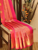 Pure kanjivaram silk saree pink with allover thread weaves and buttas with rich zari woven border