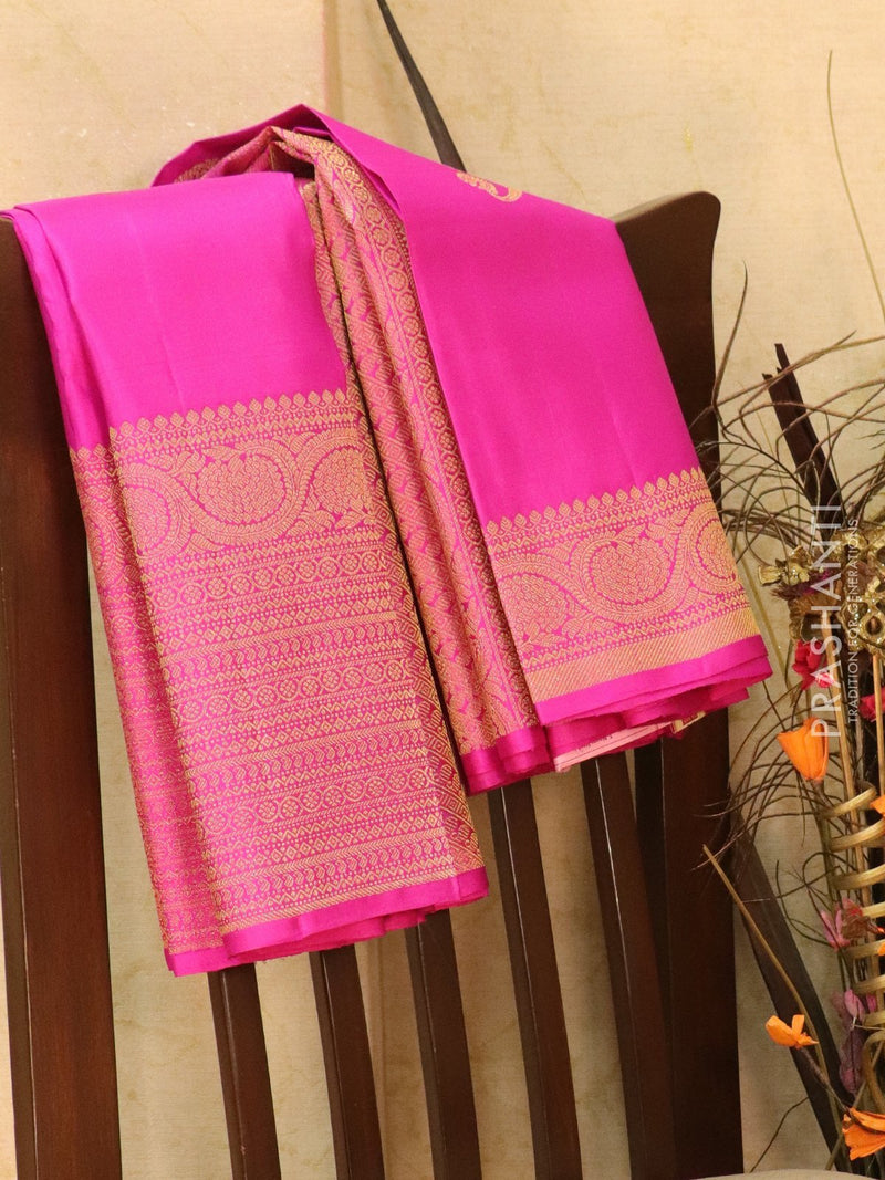 Pure kanjivaram silk saree pink with zari woven buttas and rich long zari border