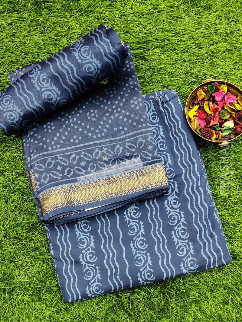 Pure chanderi dress material indigo with all over prints and maheshwari border