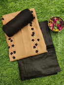 Chanderi dress material brown and black with embroided neck and organza dupatta