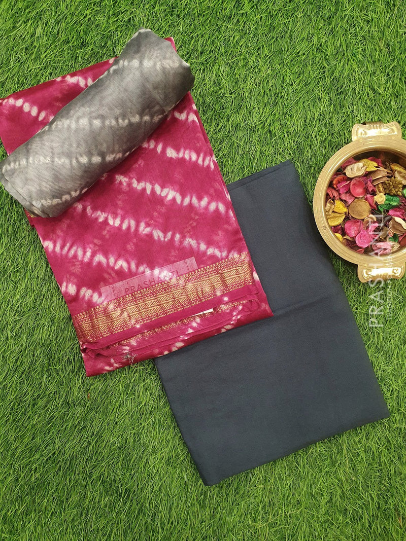 Pure chanderi dress material pink and elephant grey with tie and die pattern and maheshwari border