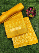 Pure chanderi dress material yellow with leaf prints and maheswari border