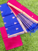 Silk cotton dress material blue and maroon with zari woven buttas and woven dupatta