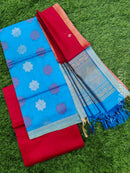 Silk cotton dress material cs blue and red with zari woven buttas and woven dupatta