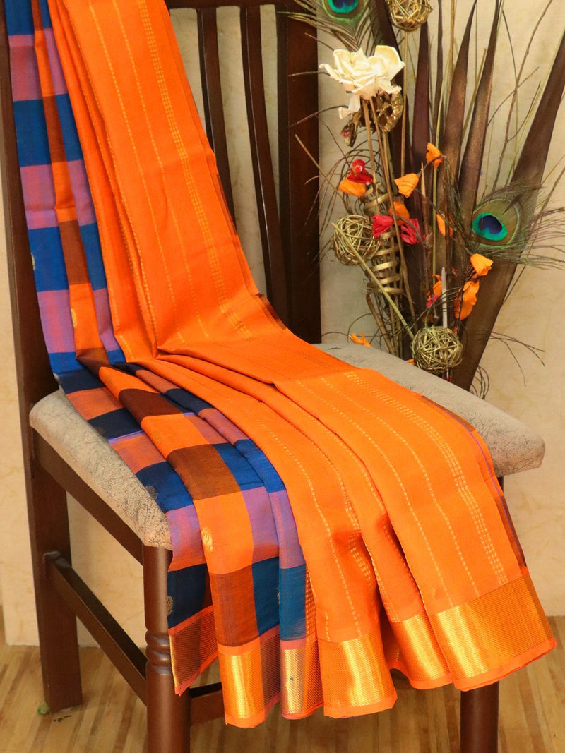 Silk Cotton Saree orange and peacock blue paalum pazhamum checks with zari buttas