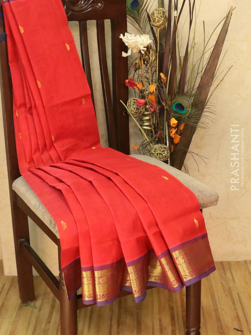 Silk Cotton Saree red and blue with zari woven buttas and border