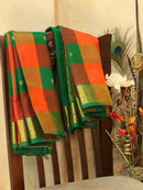 Silk Cotton Saree orange and green paalum pazhamum checks with zari buttas