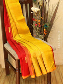 Silk Cotton Saree maroon and mustard yellow with zari woven buttas and piping border