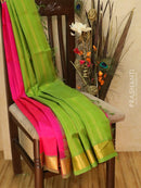 Silk Cotton Saree pink and green with zari woven border
