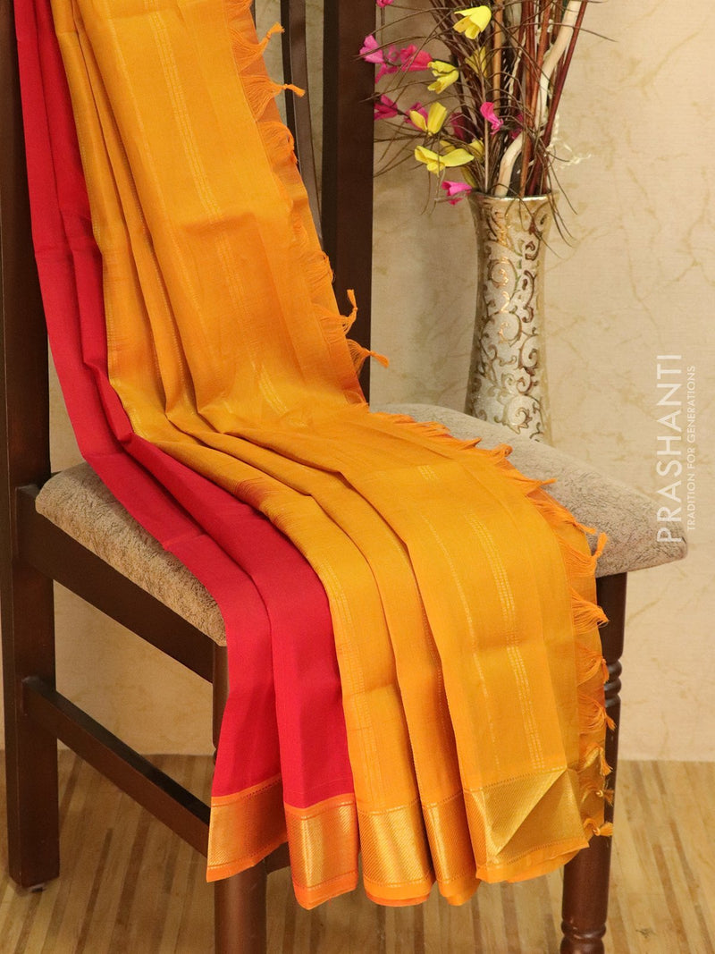 Silk Cotton Saree red and mustard with zari woven border