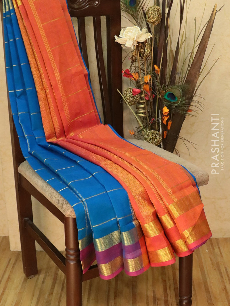 Silk Cotton Saree cs blue and orange with zari checks and rettapet border