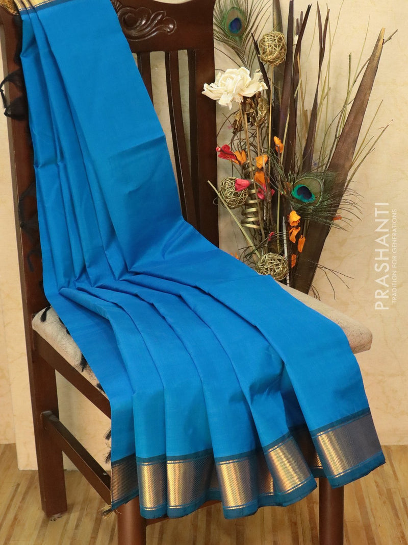 Silk Cotton Saree cs blue and black with zari woven border