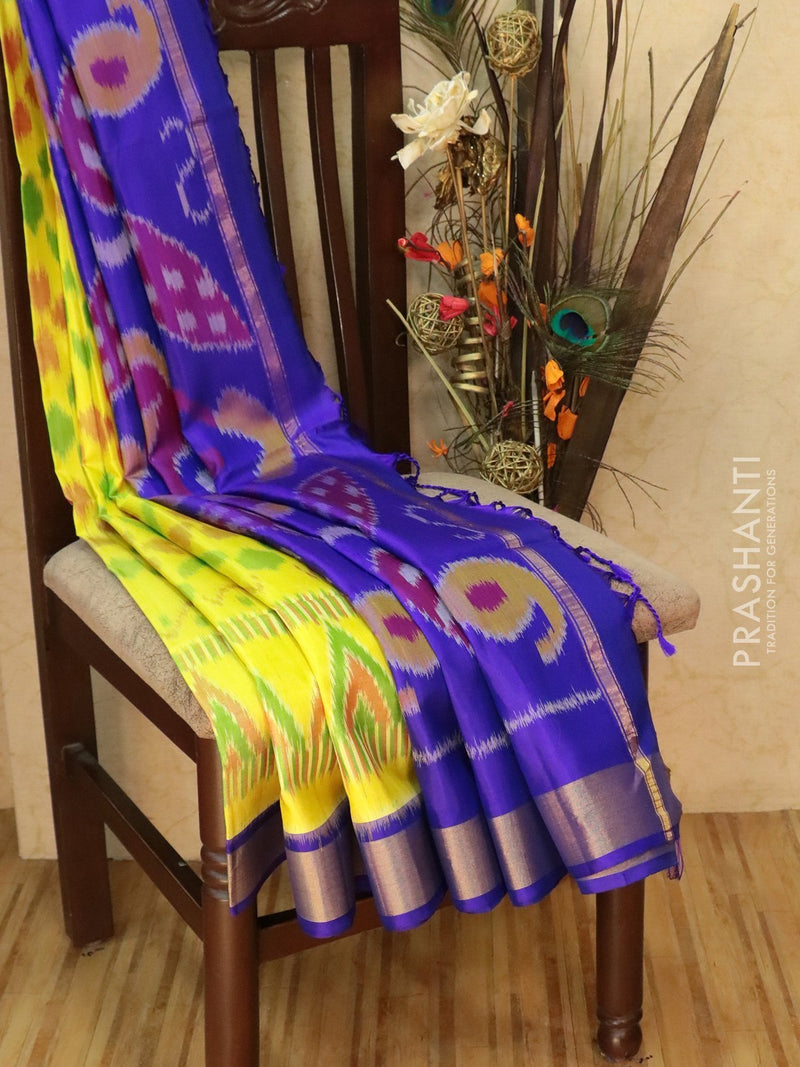 Ikat soft silk saree lime yellow and violet with Ikat weaves and golden zari border
