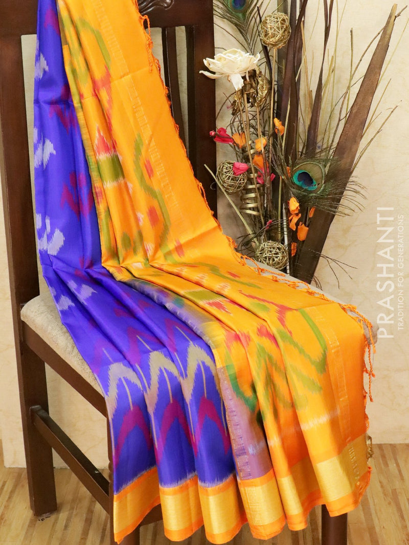 Ikat soft silk saree blue and mustard yellow with Ikat weaves and golden zari border