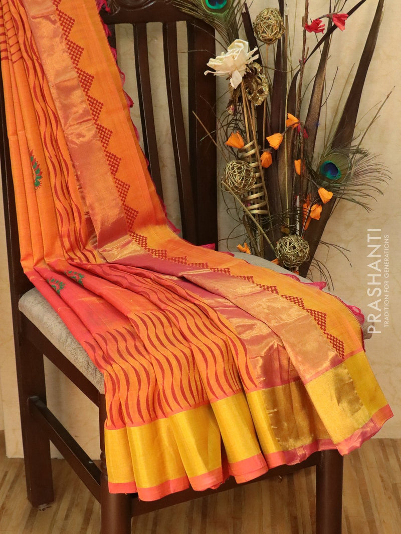 Block printed silk cotton saree dual shade of pink with all over prints and golden zari border