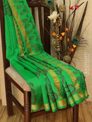 Block printed silk cotton saree pista green with paisley prints and simple zari border