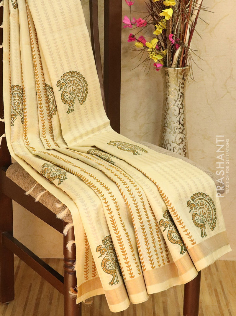 Block printed silk cotton saree sandal with all over prints and simple zari border