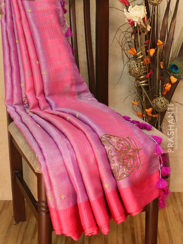 Linen tissue hand embroided saree lavander and pink with silver zari border