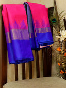 Pure kanjivaram silk sareee pink and blue with temple pattern in zari woven border