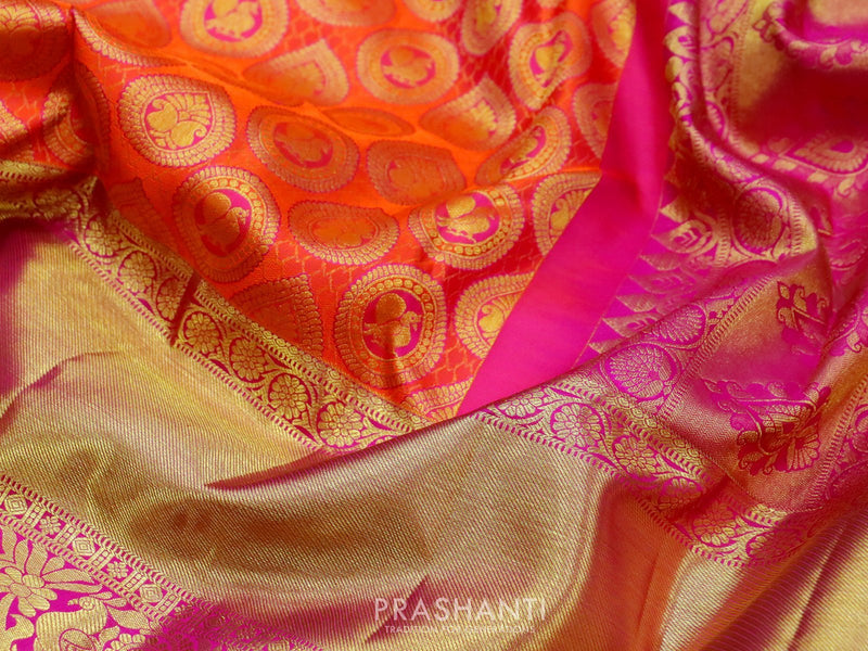 Pure kanjivaram silk sareee orange and pink with zari and thread woven buttas and rich golden zari border