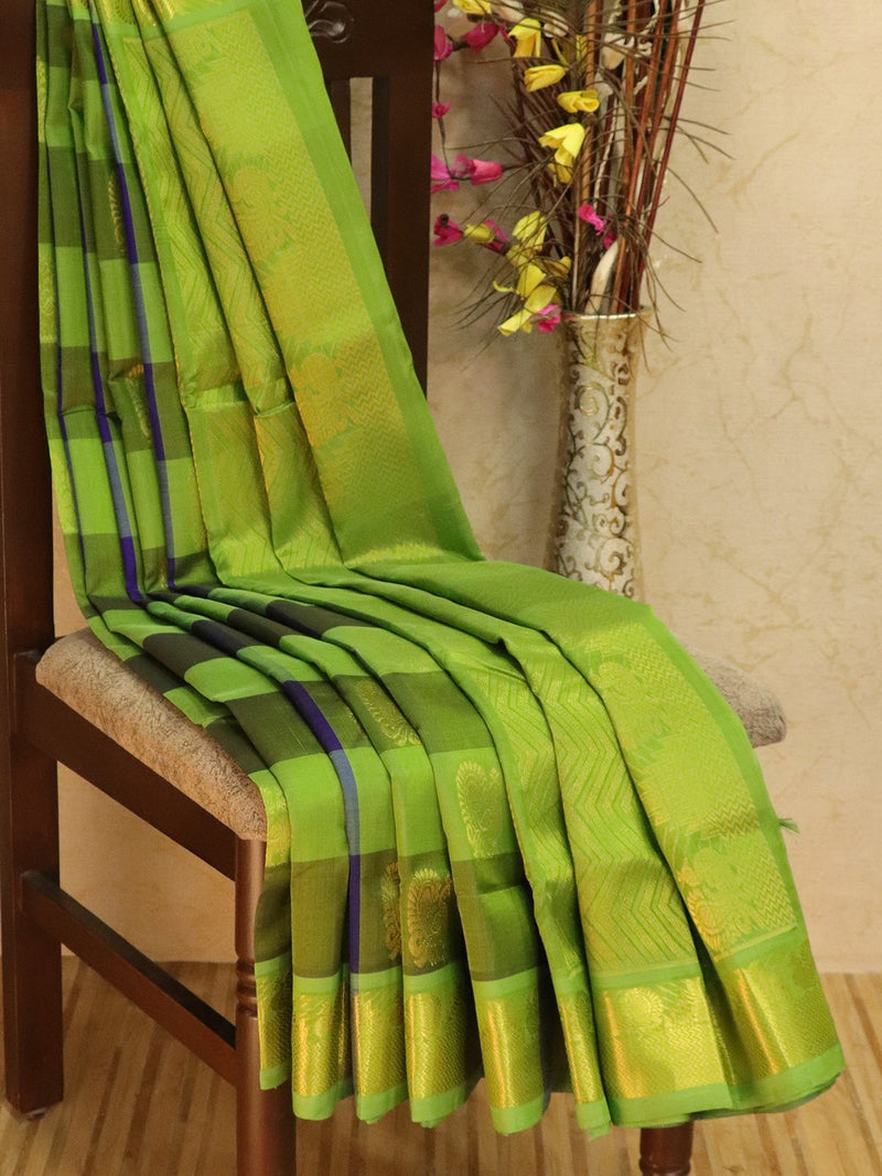 10 yards silk cotton saree violet and green paalum pazhamum checks with zari woven buttas and border