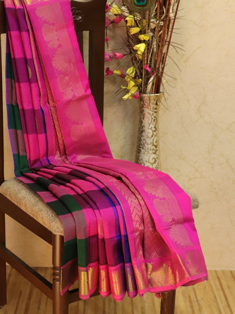 10 yards silk cotton saree multi colour and pink paalum pazhamum checks with zari woven buttas and border