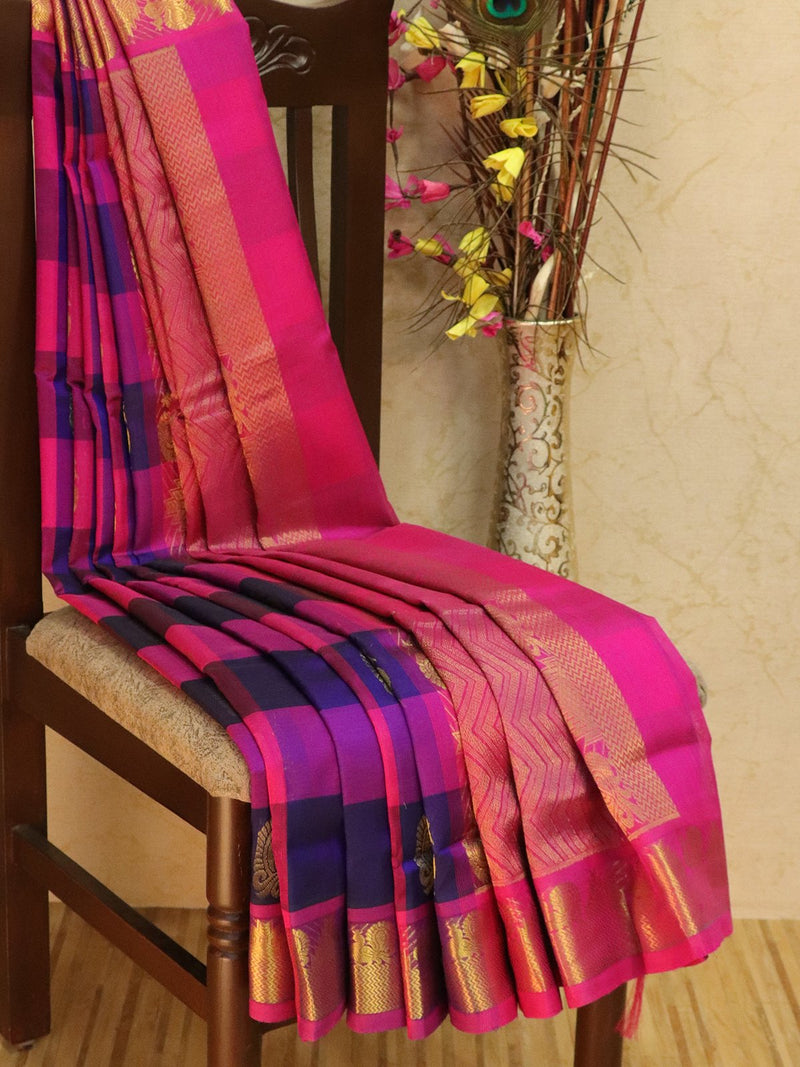10 yards silk cotton saree violet and pink paalum pazhamum checks with zari woven buttas and border